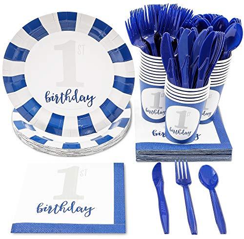 Juvale Monouso stoviglie Set - Serve 24-1 ° Compleanno (Boy) - comprende coltelli di plastica, cucchiai, forchette, Piatti di Carta, tovaglioli, Tazze