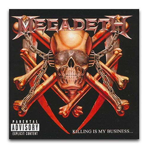 Megadeth Album copertina – Killing Is My Business Poster decorativo su tela da parete per soggiorno, camera da letto, 40 x 40 cm