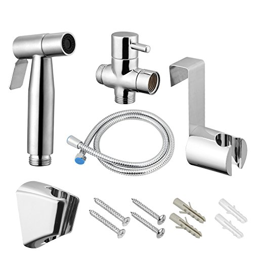 VOVA Handheld Shattaf Bidet Sprayer For Toilet, Cloth Diaper Sprayer,Toilet Shower with T-valve,Toilet Sprayer Hand Bidet - ABS White Chrome (Bidet A)