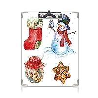 カスタム クリップボード クリップファイル クリスマス 事務用品の文房具 (2個)水彩クリスマスアイコン雪だるまとフクロウ靴下ジンジャーブレッドクッキー装飾赤暗いオレンジライトブルー