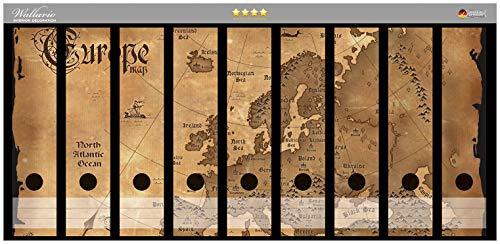 Wallario Ordnerrücken Sticker Alte Weltkarte Karte von Europa in englisch in Premiumqualität - Größe 54 x 30 cm, passend für 9 breite Ordnerrücken