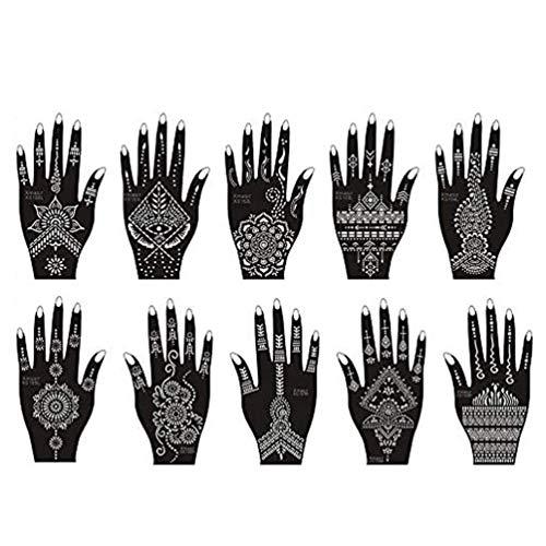 Xmasir Henna Tattoo Schablonen,10 Stück Set für Glitter Tattoo und Air Brush Tattoo, Temporäre Tattoo Tempel Indian Arabian Tattoo Aufkleber für Hände Body Art