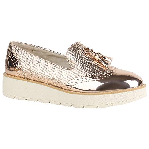 stiefelparadies Damen Schuhe Loafers Quasten Glitzer Slipper Profilsohle Dandy Geek 155972 Rose Gold Lack 41 Flandell
