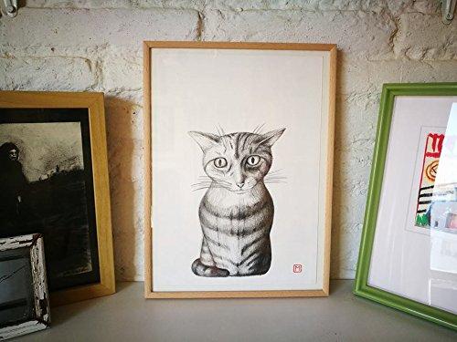 MININO Nº 6. Dibujo original. Lápiz sobre papel . 21x29,5cm. Regalo, navidad, la petite illustration, cats,gatos, mascotas, animales