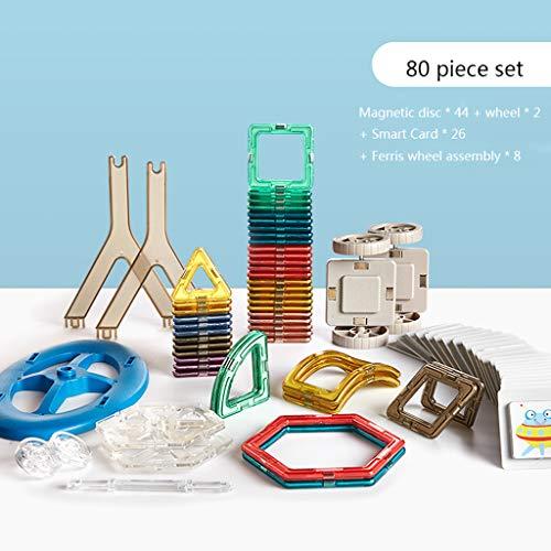 Ensemble de blocs de construction magnétiques Jouets d'empilage magnétique pour bébé de 2 ans, jouets d'assemblage de puzzle pour garçons et filles pour enfants, sans poudre magnétique ajoutée, maté