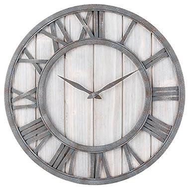 Oldtown Clocks OLDTOWN Farmhouse Metal & Solid Wood Noiseless Wall Clock (WhiteWash, 18-inch)