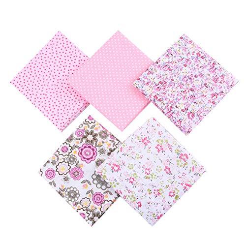 Mosumi Tela de algodón con diseño de retazos con diseño floral y rayas, hecha a mano, 5 unidades