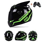 Off Road Racing Casco Integral BMX Motocicleta Motocross Karting Casco Cross Road Race Touring Flip up Casco Delantero Moda de Cuatro Estaciones,Green