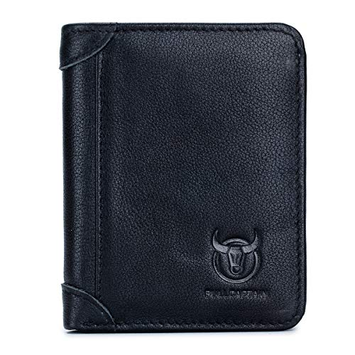 BULLCAPTAIN 2 ID Windows Mens Wallets Slim RFID Blocking Genuine Leather Wallet QB031 (Black)