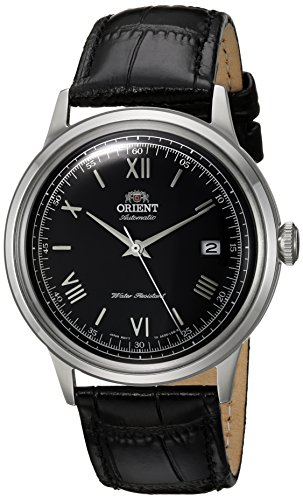 Orient Men's 2nd Gen. Bambino Ver. 2 Stainless Steel Japanese-Automatic Watch with Leather Strap, Black, 21 (Model: FAC0000AB0)