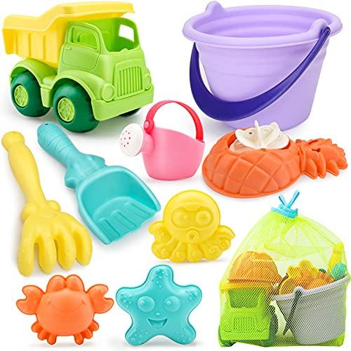 Sanlebi Juguetes Playa, Juegos Playa con Cubo Palas Rastrillo Moldes de Arena, Niños Material Plastico Juguetes Arena