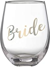 Lillian Rose G115 BR Gold Bride Stemless Wine Glass, 4.75