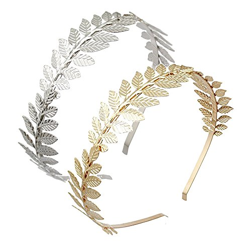 DRESHOW Roman Goddess Leaf Branch Dainty Bridal Hair Crown Head Dress Boho Alice Band, 2 pcs, gold and silver