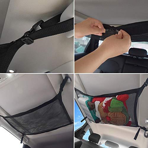 Red Elástica Maletero Organizador Coche, Red de Organizador para Techo Interior de Automóvil, Almacenamiento de Cremallera de Malla de Ventilación Simple Ajustable para Artículos Diversos
