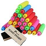 Juego de 30 tizas con 2 gomas de borrar – Yoklili ajustable con clip de borrado para maestros, niños, escuela, hogar, oficina, pizarra, color surtido, tiza no incluida.