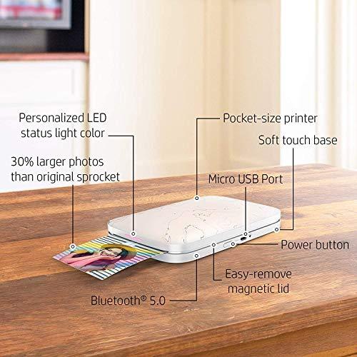 HP Sprocket Impresora fotográfica instantánea portátil de 5.8x8.7 cm, Imprima imágenes en papel adhesivo ZINK desde sus dispositivos iOS y Android, Blanco