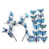 Schmetterling Fascinator Hut Derbay Stirnband und 12 Schmetterling Clips Festival Halloween Kostüm Zubehör Hochzeit Kopfschmuck blau