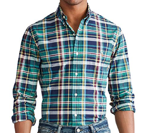 Polo Ralph Lauren Classic Fit Plaid Oxford Shirt Celtic Green/Sun Multi SM