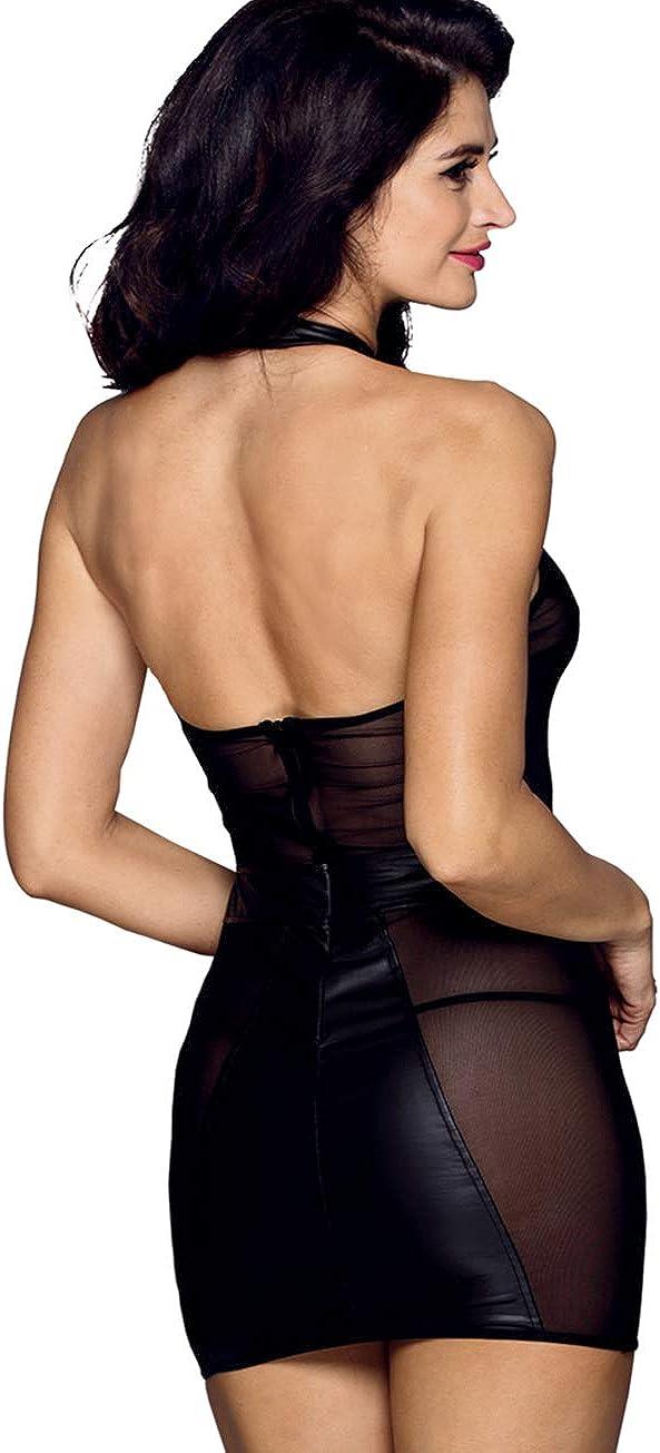 EDENIGHT Women Bodycon Dress Faux Leather Tight Clubwear Wet Look Halter Mini Club Outfits