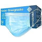 50 Stück Kinder Mundschutz OP-Masken für Mädchen und Jungen CE geprüft zertifiziert EN 14683 Type IIR 3-lagig blau Einweg