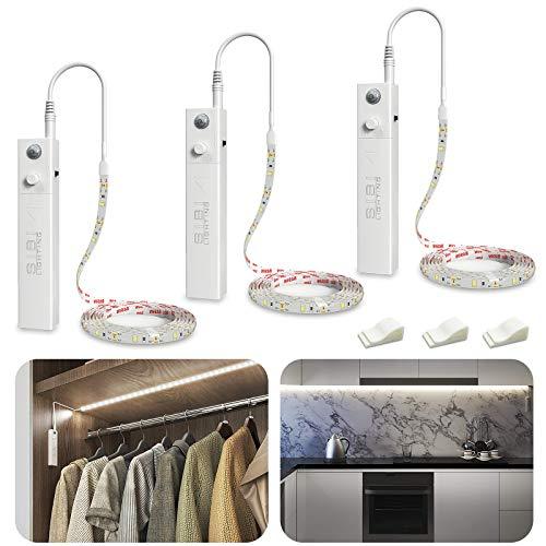 LED Band mit Bewegungsmelder, SIBI Batteriebetrieben Kleiderschrank Beleuchtung, Schranklicht Normales Weißes 4000K, Überall Aufkleben Nachtlicht für Schlafzimmer, Küche, Schrank Beleuchtung, 3 Pack