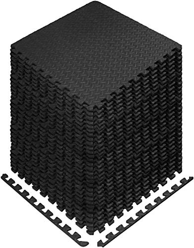 Esterillas de espuma para ejercicio entrelazadas – Cubierta de 24, 48 y 120 pies cuadrados (E. 120 pies cuadrados (30 baldosas) – Negro)