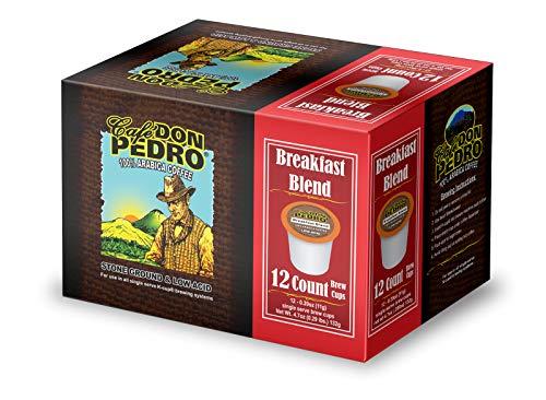 Cafe Don Pedro - Breakfast Blend Arabica Low Acid Coffee 72 Ct. - Compatible with Keurig 2.0 K-cup Brewers , 100% Arabica , Single Serve , Battles Heartburn Acidic Reflux, Healthy Gourmet Capsule Pod
