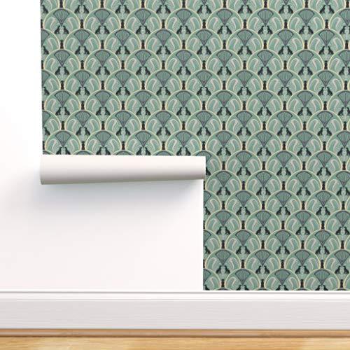 Vintage, Tiere, Art Deco, Hunde, elegant, Jugendstil, minzgrün, Vintage Tapete Spezialangefertigte Strapazierfähige Tapete 61 cm x 1000 cm von Spoonflower