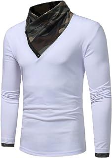 DOLAA Pullover da Uomo Pullover Casual da Uomo a Maniche Lunghe Maglione con Finta Inserto Colletto Maglietta a Maniche Lu...