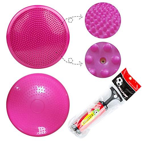 バランスディスク,バランスクッション33cm体幹トレーニングシェイプアップダイエット筋トレグッズ自宅オフィス運動器具子供用バランスボール空気入れポンプ付き2個入り,ピンク