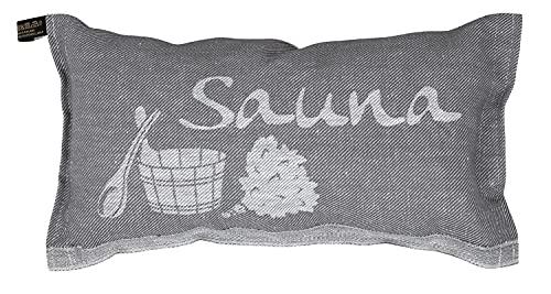 Jokipiin | 1 Saunakissen Lieblingskissen Reisekissen | Design: Sauna | Maße: 40 x 22 cm, Leinen/Baumwolle | schadstofffrei Ökotex 100 | hergestellt in Finnland (grau/weiß)
