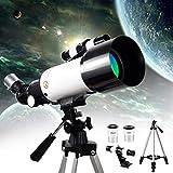 Telescopio astronómico HD 400 / 70Mm National Geographic Refractor Monocular Telescopios con Extensor planetario y Bolsa de Transporte para Adultos, niños y Principiantes