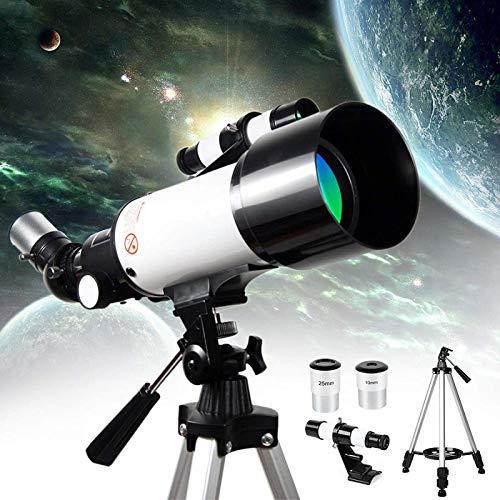 BSJZ Telescopio astronómico de Regalo HD 400/70 Mm Telescopios monoculares refractores National Geographic con Extensor planetario y Bolsa de Transporte para Adultos, niñ