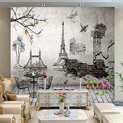 Schwarz-Weiß-Thema Malerei Europäische historische Architektur Reise Kids Wallpaper Besondere Europäische handgemalte moderne Tapeten Tapeten(1㎡-50㎡)