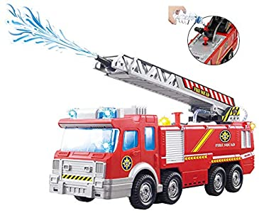 ToyZe® Camión de Bomberos de Juguete con Bomba de Agua y Escalera Extendible con Luces intermitentes y Sirenas, Bump & Go Action con Pilas