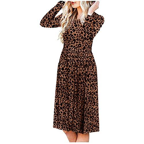 SoonerQuicker Damesjurk, luipaard, lange mouwen, knielang, petticoat, vintage, feestelijk, regular fit, cocktailjurk, zomer, herfst, slim fit, rechte jurk, elegant, pastelkleuren, avondjurk, casual
