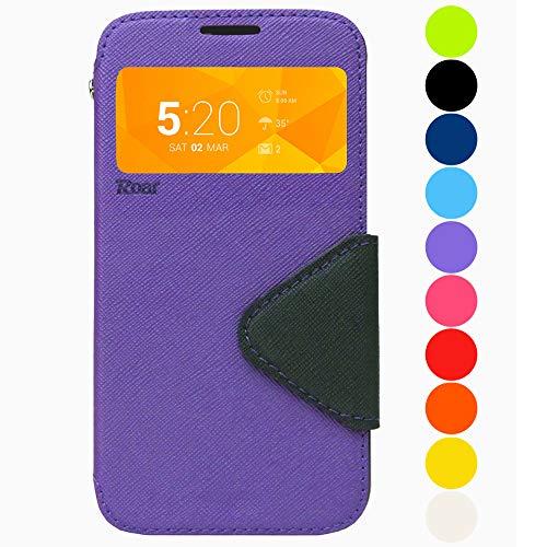 Roar Premium Hülle für Sony Xperia Z3 Handyhülle, Flip Hülle Schutzhülle Tasche Case für Sony Xperia Z3, Klapphülle mit Fenster in Violett Lila