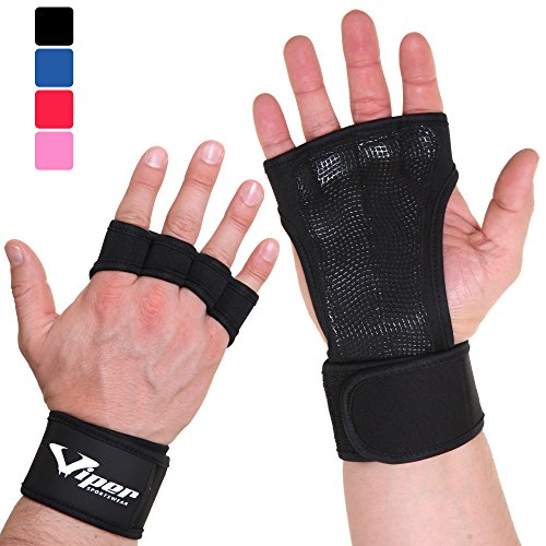 Trainingshandschuhe für Crossfit und Kraftsport Workout - Handflächenschutz Grip Handschuhe für Fitness, Pull Up Bar, Fitnessstudio, Krafttraining, Gewichtheben Training - Damen & Herren (Schwarz, XS)