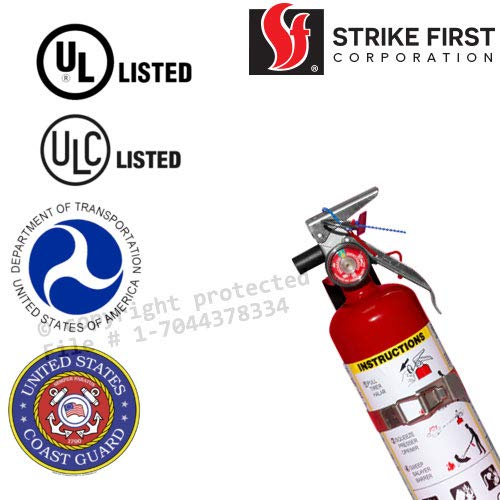 Strike First 2.5 Lb ABC Dry Chemical Standard Home Fire Extinguisher Red with Vehicle Bracket, Yellow Inspection Tag and Sign