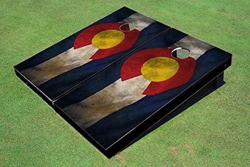Skip's Garage Colorado Worn Shipping included State Flag Cornhole Cheap Set Board Choo -