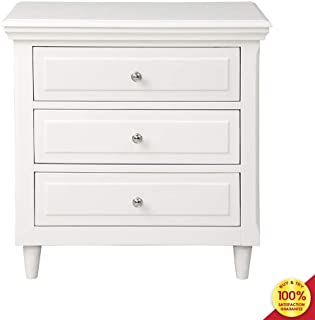 Nightstand, Wood Bedside Storage Cabinet Furniture Fully Assembled, Accent End Side Table Chest, Perfect for Home, Bedroom Living Room Accessories, 3-drawer white