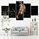 HGFDS Cuadros Modernos Impresión de Imagen Artística Digitalizada Deporte de Lucha de Boxeo Lienzo Decorativo para Salón o Dormitorio | 5 Piezas 150x80cm XXL (Enmarcado)