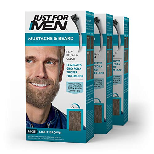 Just For Men Mustache & Beard, Beard Coloring for Gray Hair with Brush Included - Color: Light Brown, M-25 (Pack of 3)