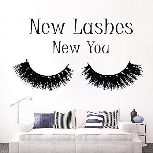 Extension De Cils Maquillage Citation Sticker Mural Chambre Nouveaux Cils Nouveau Vous Mascara Decal Salon De Beauté Décor Cosmétiques Mur Art 57 * 102 Cm