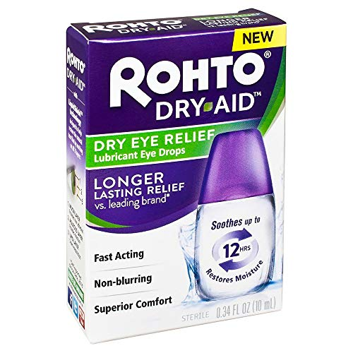 Rohto Dry Aid Dry Eye Relief Lubricant Eye Drops, 0.34 fl oz (Pack of 2)