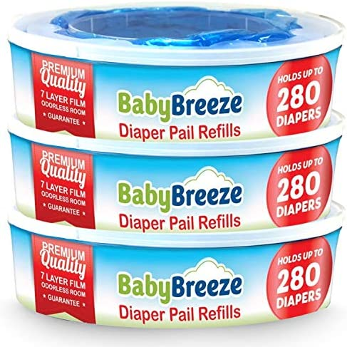 BabyBreeze Diaper Genie Refills for Playtex Diaper Genie and Diaper Pails 840 Count 3 Pack product image