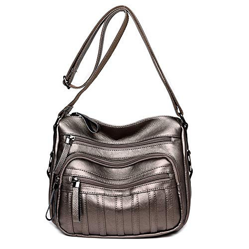 Damen-Handtasche aus PU-Leder mit Schulterriemen, Crossbody-Tasche für Dating und Shopping, modische Rucksäcke, - bronze - Größe: Einheitsgröße