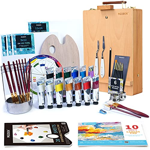 MEEDEN 46Pcs Professional Oil Painting Set with Wood Tabletop Easel Box,13X50ML Oil Paints,Paint Brushes Set with Stainless Steel Brush Cleaner,Palette Cup,Canvas Panels and Other Painting Supplies