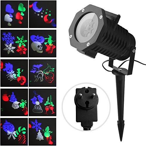 LED Projektionslampe FOCHEA Projektor Licht Außen Weihnachten Projektionslampe Effektlicht Projektor Lichter 10 Muster für Weihnachten Halloween Aussen Innen