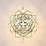 Mzithern LED 42 Lights Fireworks Globe Ceiling Light Fixture Modern Geometric Chandelier Chrome Cage Pendant Lighting Star Lantern Hanging Lamp Sputnik Chandeliers for Dining Room Foyer 16 Inch Warm